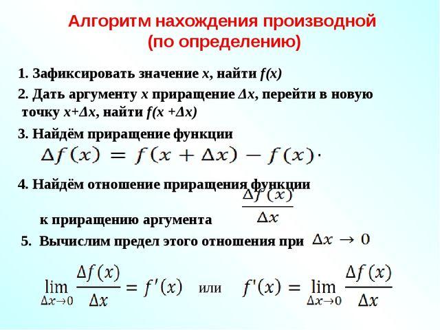 Алгоритм нахождения производной (по определению) 2. Дать аргументу х приращен...