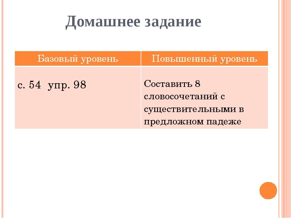 Домашнее задание Базовый уровень Повышенныйуровень с. 54 упр. 98 Составить 8...