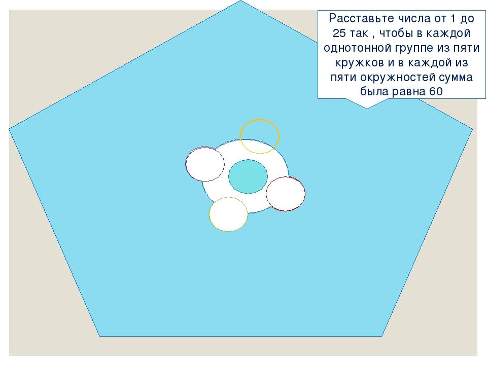 Расставьте числа от 1 до 25 так , чтобы в каждой однотонной группе из пяти кр...