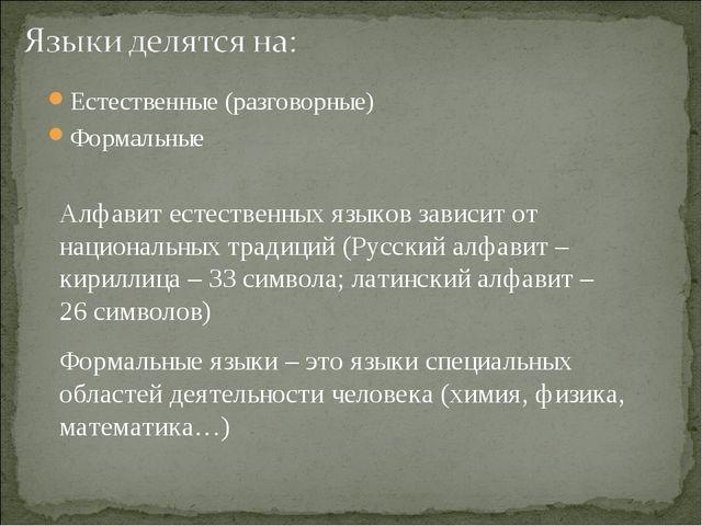 Естественные (разговорные) Формальные Алфавит естественных языков зависит от...