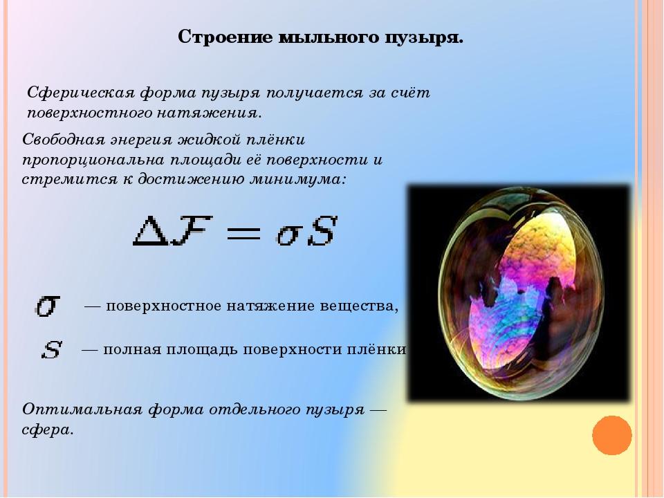 Строение мыльного пузыря. Сферическая форма пузыря получается за счёт поверхн...