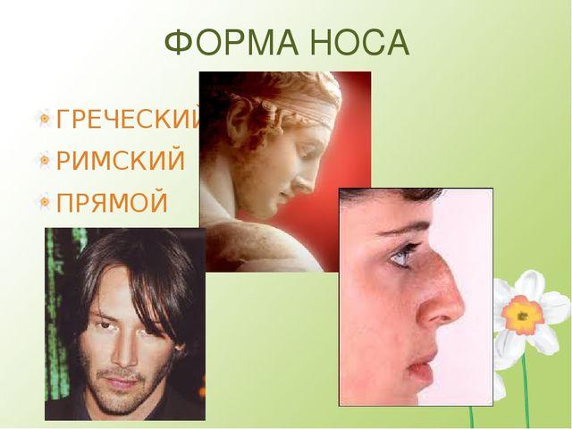 ФОРМА НОСА ГРЕЧЕСКИЙ РИМСКИЙ ПРЯМОЙ