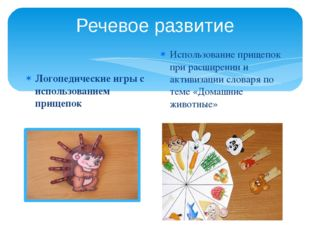 Речевое развитие Логопедические игры с использованием прищепок Использование