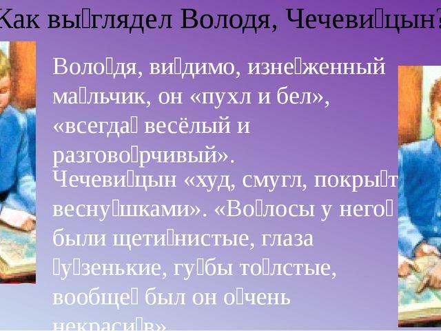 Как вы́глядел Володя, Чечеви́цын? Чечеви́цын «худ, смугл, покры́т весну́шками...