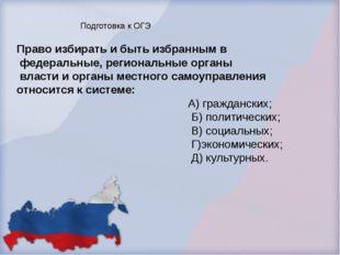 Право избирать и быть избранным в федеральные, региональные органы власти и о