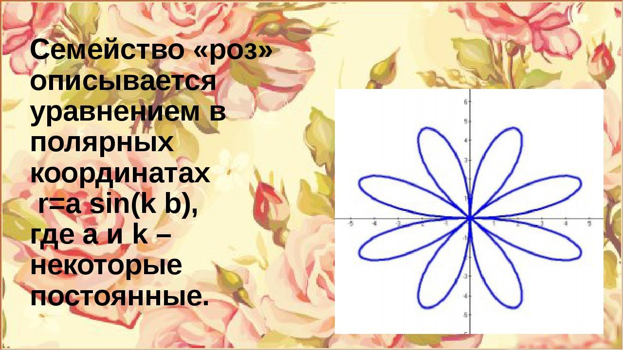 Семейство «роз» описывается уравнением в полярных координатах r=а sin(k b), г...