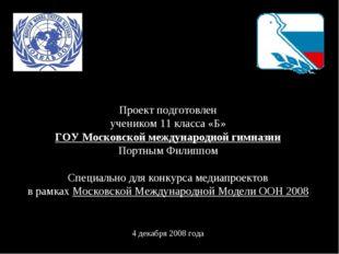 Проект подготовлен учеником 11 класса «Б» ГОУ Московской международной гимназ