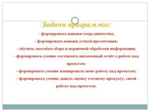 Задачи программы: - формировать навыки сотрудничества; - формировать навыки у