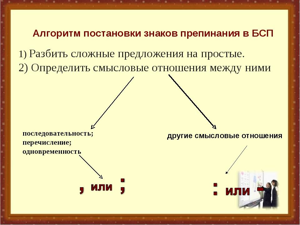 1) Разбить сложные предложения на простые. 2) Определить смысловые отношения...