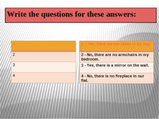 Write the questions for these answers: 1 2 3 4 1- Yes, there are two books in
