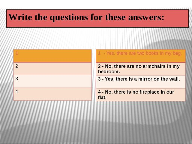Write the questions for these answers: 1 2 3 4 1- Yes, there are two books in...