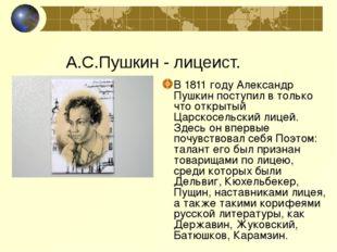 В 1811 году Александр Пушкин поступил в только что открытый Царскосельский ли