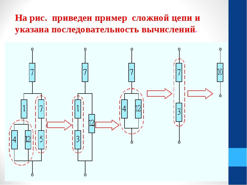 На рис. приведен пример сложной цепи и указана последовательность вычислений.