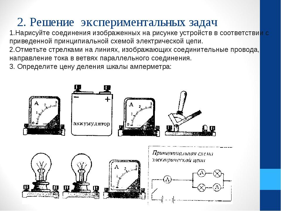 2. Решение экспериментальных задач 1.Нарисуйте соединения изображенных на рис...