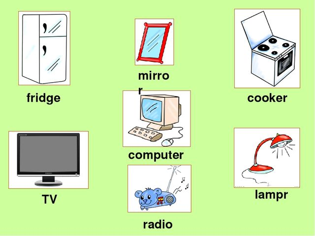 TV cooker computer mirror lampr fridge radio