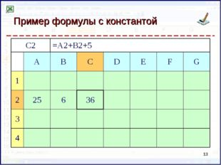 Пример формулы с константой * C2=A2+B2+5 ABCDEFG 1 225636