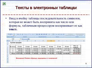 Тексты в электронных таблицах Ввод в ячейку таблицы последовательность символ