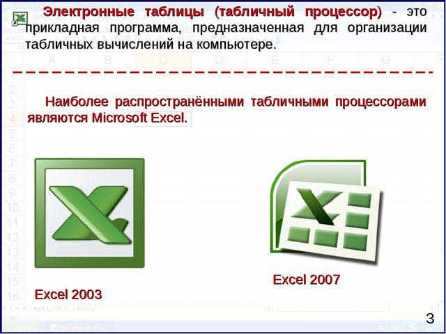 Электронные таблицы (табличный процессор) - это прикладная программа, предназ...