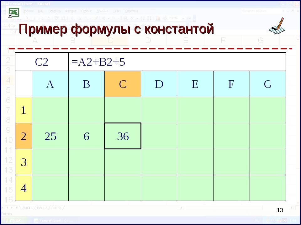 Пример формулы с константой * C2=A2+B2+5 ABCDEFG 1 225636...