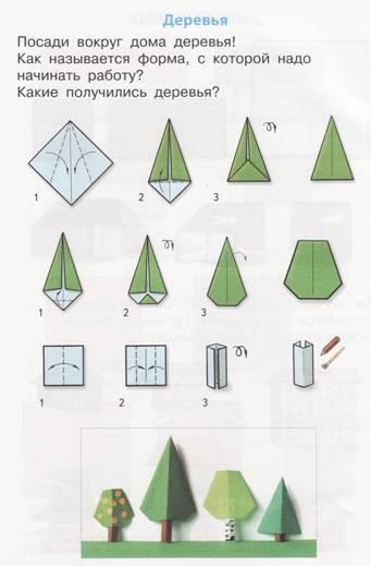 Как сделать деревья оригами