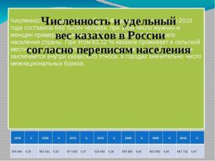 Численность казахов в Российской Федерации по переписи 2010 года составила 6