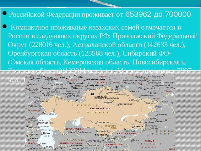 Российской Федерации проживает от 653962 до 700000 Компактное проживание каза...
