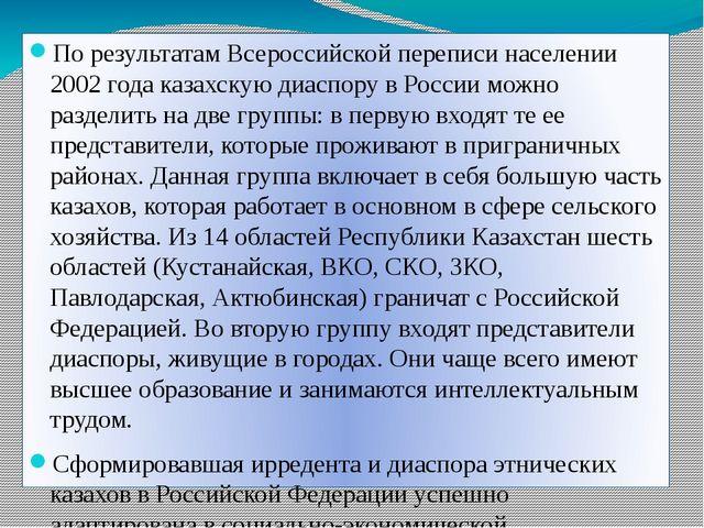 По результатам Всероссийской переписи населении 2002 года казахскую диаспору...