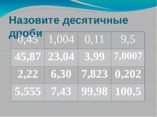 Назовите десятичные дроби 0,45 1,004 0,11 9,5 45,87 23,04 3,99 7,0007 2,22 6,