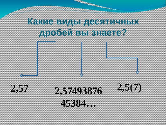 Какие виды десятичных дробей вы знаете? 2,57 2,5(7) 2,5749387645384…