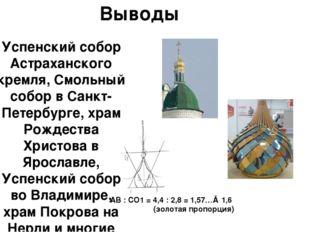 Выводы Успенский собор Астраханского кремля, Смольный собор в Санкт-Петербург