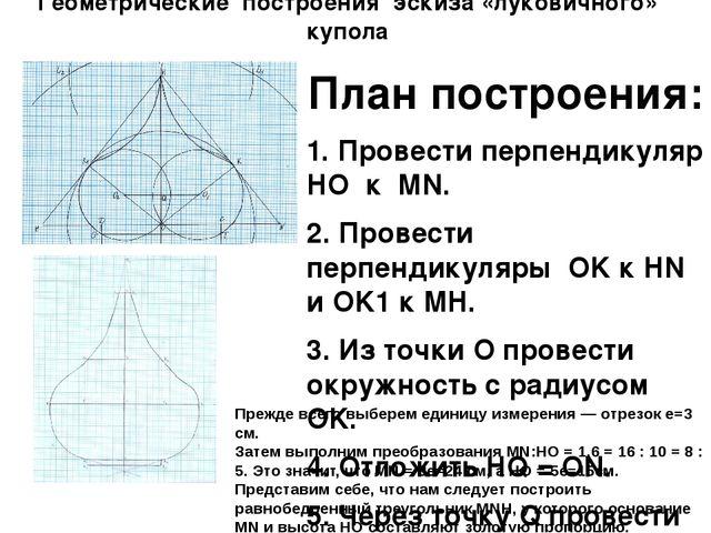 Геометрические построения эскиза «луковичного» купола План построения: 1. Про...