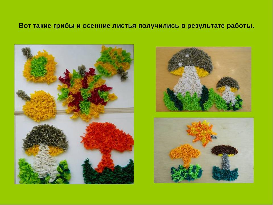 Вот такие грибы и осенние листья получились в результате работы.