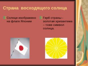 Страна восходящего солнца Солнце изображено на флаге Японии Герб страны - зол