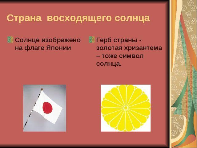 Страна восходящего солнца Солнце изображено на флаге Японии Герб страны - зол...