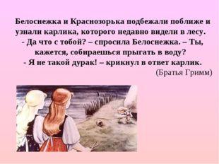 Белоснежка и Краснозорька подбежали поближе и узнали карлика, которого недавн