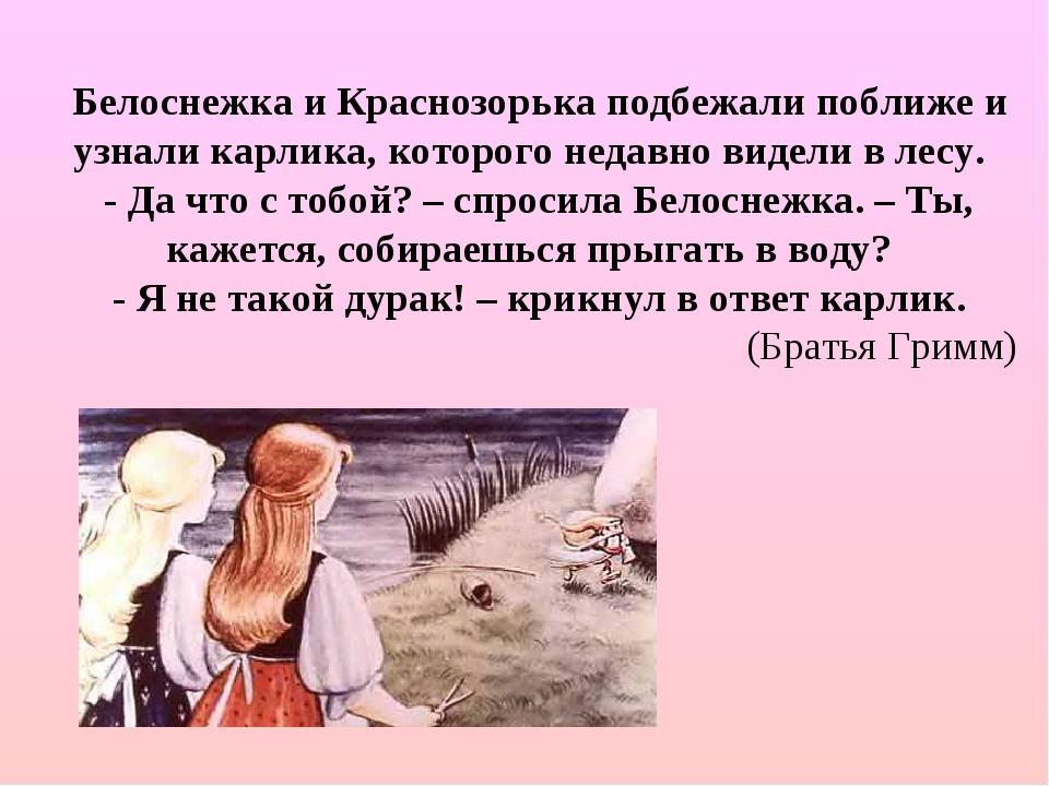 Белоснежка и Краснозорька подбежали поближе и узнали карлика, которого недавн...