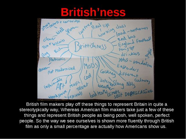British'ness 	British film makers play off these things to represent Britain...