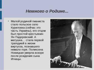 Немного о Родине... Малой родиной пианиста стало польское село Куриловка (сей