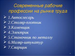 Современные рабочие профессии на рынке труда 1.Автослесарь 2.Столяр-плотник 3