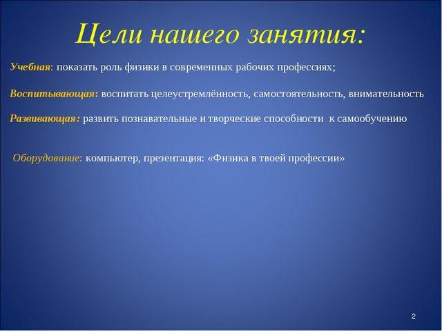 Цели нашего занятия: Учебная: показать роль физики в современных рабочих про...