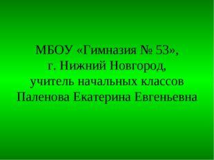МБОУ «Гимназия № 53», г. Нижний Новгород, учитель начальных классов Паленова