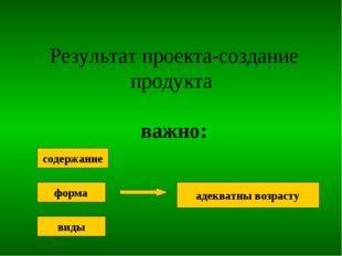 Результат проекта-создание продукта важно: содержание форма виды адекватны во