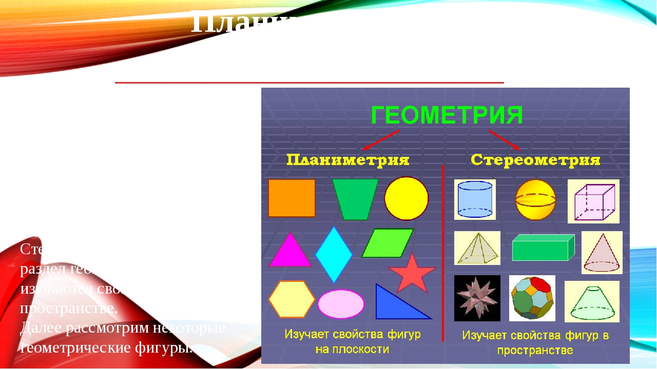 Планиметрия и стереометрия Планиметрия – это разделевклидовой геометрии, из...