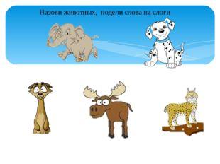 Назови животных, подели слова на слоги
