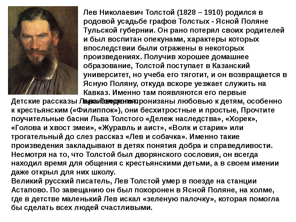 Лев Николаевич Толстой (1828 – 1910) родился в родовой усадьбе графов Толстых...