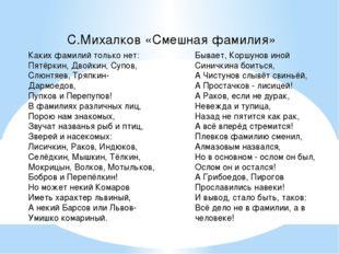 С.Михалков «Смешная фамилия» Каких фамилий только нет: Пятёркин, Двойкин, Су