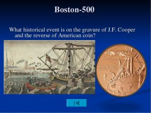 Boston-500 What historical event is on the gravure of J.F. Cooper and the rev