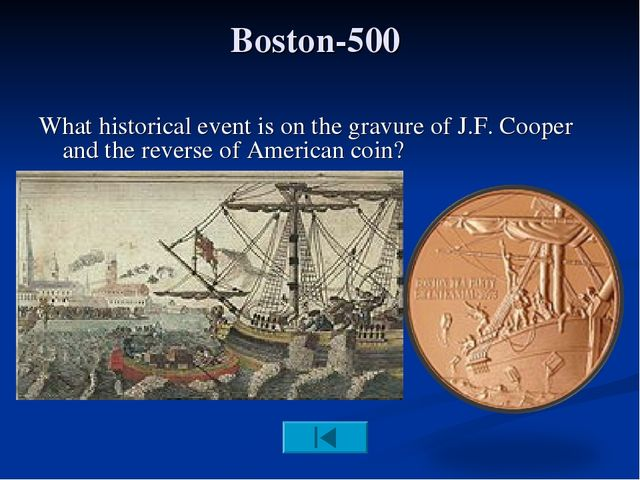 Boston-500 What historical event is on the gravure of J.F. Cooper and the rev...