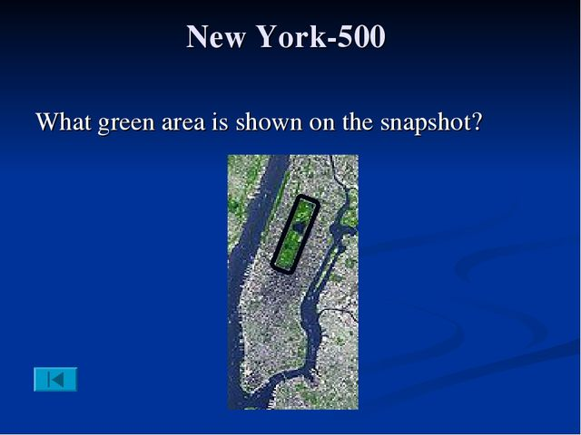 New York-500 What green area is shown on the snapshot?