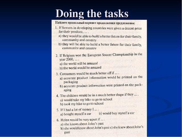 Doing the tasks